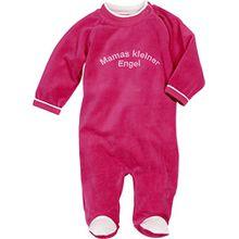 Schnizler Baby-Mädchen Schlafstrampler Schlafoverall Nicki mit Stickerei: Mamas Kleiner Engel, Oeko-Tex Standard 100, Rosa (Pink 18), 74