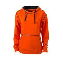 James & Nicholson Damen Sweatshirt Kapuzensweatshirt Ladies' Lifestyle Hoody orange (dark-orange/navy) XX-Large
