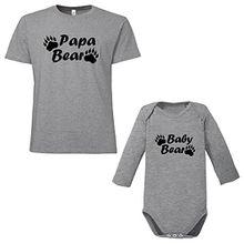 ShirtWorld Papa Bear Baby Bear - Vater Kind Geschenkset Melange Grey M-10-12