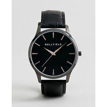 Bellfield - Uhr mit Armband in Krokooptik, in Schwarz - Schwarz