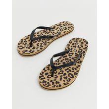 Vero Moda - Zehenstegsandalen mit Leopardenmuster - Braun