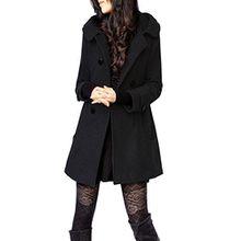 Foluton Damen Winter Herbst Mantel Steppjacke Kapuzenjacke Übergangsjacke Trenchcoat Zweireihig Wollmantel Gesteppt Parka Coat Outwear Schwarz Grau