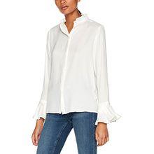 Vila Clothes Damen Bluse Vicamila L/S Shirt/GV, Weiß (Cloud Dancer), 38 (Herstellergröße: M)