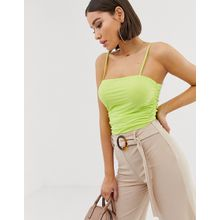 Missguided - Grüner Netz-Bodysuit mit gerafften Seiten - Grün