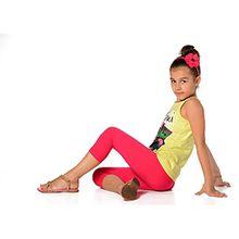 Kinder 3/4 Leggings in 22 Farben Baumwolle, Gr. 92 bis 158 cm, p701 140 Pink