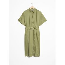 Belted Utilitarian Dress - Green