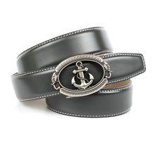 Anthoni Crown Grauer Ledergürtel mit stilisiertem Anker Ledergürtel grau Herren