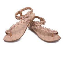 Sommer Sandalen,Resplend Damen Flache Sandalen mit Keilabsatz Blumen Bandagen Freizeit Atmungsaktiv Pom-Pom Sandalen Mode Elegant Roma Schuhe Flip-Flop Schuhe