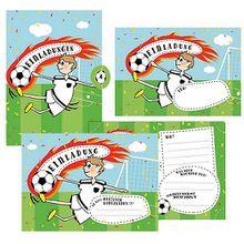 Einladungskarten Fußball zum Geburtstag, inkl. Umschläge, 12 Stück