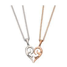 FIRETTI Schmuckset: Partnerschmuck bestehend aus 2 Halsketten und Anhängern 'Herz' (Set 4tlg.) rosegold / silber