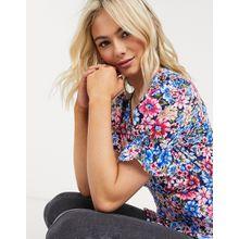 Influence – Vorn geknöpfte Bluse mit Retro-Blumenmuster-Mehrfarbig