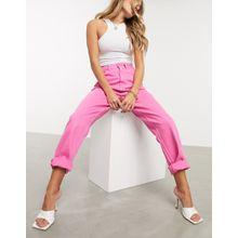 ASOS DESIGN – Legere Mom-Jeans in Pink mit hohem Bund-Rosa