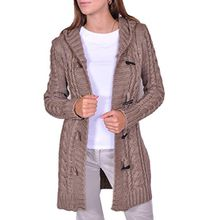 Damen Strick Jacke Mantel Pullover Neu mit Kapuze Beige Grau Warm (951) (L, Beige)