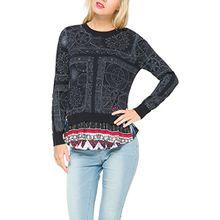 Desigual Damen Sweatshirt Gr. Herstellergröße: XL, Blau - Bleu (Petroleo)