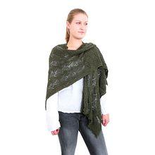 Damen Stola Ajour Muster Umschlagtuch Wickelschal Cape Wraps Überwurf (8002) (Oliv grün)