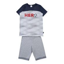 SCHIESSER Schlafanzug dunkelblau / hellgrau / rot