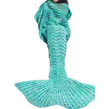 Tiaobug Meerjungfrau Schwanz Flosse Decke Handgemachte Gestrickte Schlafsack Wohnzimmer Kuscheldecke? Decke Kostüm für Erwachsene und Kinder