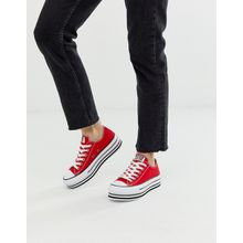 Converse - Chuck Taylor All Star - Rote Sneaker aus Leder mit Plateausohle - Rot
