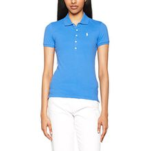 Polo Ralph Lauren Damen Poloshirt Julie Polo SS KNT Stretch Mesh, Blau (Brilliant Blue XW7RH), X-Small