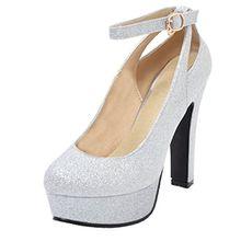 AIYOUMEI Damen Glitzer High Heels Plateau Pumps mit Blockabsatz und Riemchen Abend Schuhe