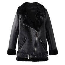 iBaste PU Lederjacke Damen Bikerjacke gefüttert Ledermantel damen Lang Kunstlederjacke mit Revers Leather Jacket für damen Herbstjacke-BK-M