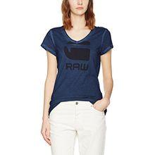 G-STAR RAW Damen T-Shirt Suphe Slim V T Wmn S/S, Blau (Sartho Blue 6067), Medium
