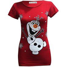 Frauen Weihnachts Druck strecke T-Shirts Tops 36-38 Olaf Red
