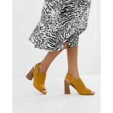 ALDO - Elalyan - Sandalen aus senfgelbem Leder mit Schnalle und Blockabsatz - Gelb