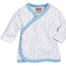 Schnizler Unisex Baby Hemd Wickelshirt, Flügelhemd, Erstlingshemd Langarm Sterne, Oeko Tex Standard 100, Gr. 56, Blau (Weiß/Bleu 117)
