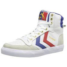 Hummel STADIL HIGH, Unisex-Erwachsene Hohe Sneakers, Weiß (White/Blue/Red/Gum), 38 EU (5 Erwachsene UK)