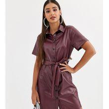 Missguided Tall - Burgunderrotes Hemdkleid im Leder-Look mit Gürtel - Rot