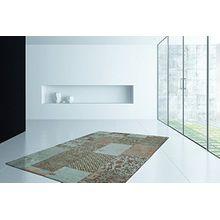 Flachflor Teppich Retro Patchwork Look Jacquard Muster Türkis Teppiche , Größe:160cm x 230cm