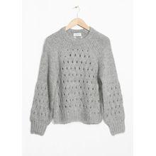 Zig Zag Eyelet Sweater - Grey