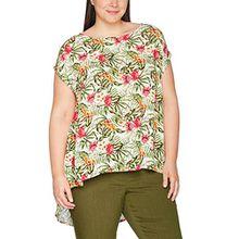 Ulla Popken Damen T-Shirt Longbluse mit Tropischem Print, Mehrfarbig (Ecru 21), 58