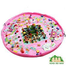 KING DO WAY Spielzeug Beutel Aufräumsack Spielzeugteppich für kinderzimmer Speicher Tasche& Aufbewahrung Rosa XL