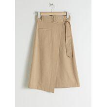 Belted Asymmetric Midi Skirt - Beige