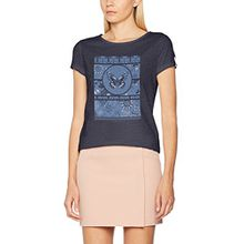 edc by ESPRIT Damen T-Shirt 047CC1K028, Blau (Dark Blue 3 407), 34 (Herstellergröße: XS)