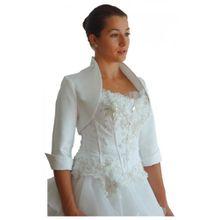 Mamas Brautmode Brautjacke Bolero Satin 3/4-Arm in weiß, ivory und schwarz, Farbe: Ivory; Größe: 44