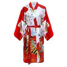 Damen Morgenmantel kimono kurz rot Satin M/L