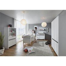 Komplett Kinderzimmer Planet Star, 3-tlg.(Kombi-Kinderbett 70x140, Umbauseiten, Wickelkommode mit Wickelaufsatz und Kleiderschrank 5-trg.), Buche teilmassiv, weiß/dunkelgrau