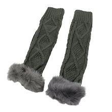 Strickwolle Armstulpen Pulswärmer Handschuhe fingerlos Stulpen Damenhandschuhe Winterhandschuhe (Dunkelgrau)