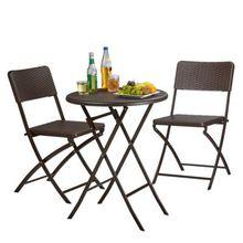 """3-tlg. Polyrattan Gartenmöbel Set """"Bastian"""" klappbar, 2 Gartenstühle + Tisch rund braun"""