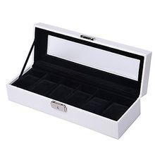 KYD Uhrenbox 6 Uhren Uhrenkasten Uhrenkoffer für Herren Damen Uhrentruhe aus PU-Leder Uhrenschatulle Uhrenvitrine mit Glasdeckel Samt Uhren Schaukasten Sammelbox in Schwarz (innen) + Weiß (außen) Farbe
