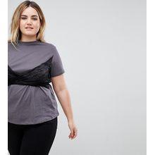 ASOS CURVE - T-Shirt mit gewickeltem Spitzeneinsatz - Weiß