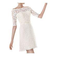 Ivydressing Damen U-Ausschnitt Halb-Aermel Kurz Abendkleid Brautkleid Hochzeitskleid-38-A
