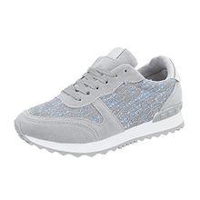 Ital-Design Sneakers Low Damen-Schuhe Sneakers Low Sneakers Schnürsenkel Freizeitschuhe Hellgrau, Gr 38, G-100-