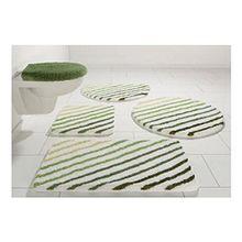 Badematte Badteppich XL mit Streifen flauschiger Hochflor in Weiß/Grün Größe: 90 x 160 cm