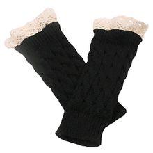 Bluelans® Armstulpen Pulswärmer lang fingerlos Handschuhe Damenhandschuhe Winterhandschuhe Fäustlinge Fausthandschuhe (Schwarz)