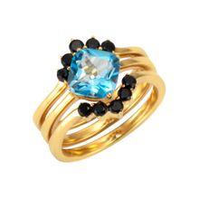 FIRETTI Fingerring blau / gold / schwarz
