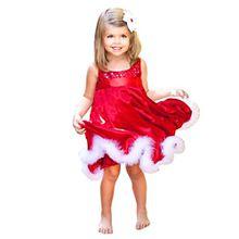 Festliche Mädchenkleider Hirolan Cocktailkleider Knielang Baby Mädchen Party Prinzessin Kleid Kinder Weihnachten Rot Paillette Tutu Kinderkleider Weihnachtsmann Geschenk (100, Rot)